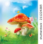 Red Fly Agarics Mushrooms In...