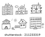 hand drawn homes | Shutterstock .eps vector #211233319