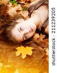 Autumn Woman. Beautiful Young...