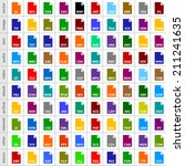 100 file types icons in simple... | Shutterstock .eps vector #211241635