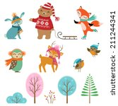 Set Of Cute Winter Animals And...