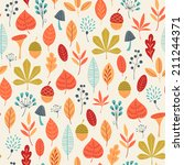 autumn pattern with leaves ... | Shutterstock .eps vector #211244371
