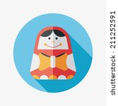 russian doll flat icon with... | Shutterstock .eps vector #211252591