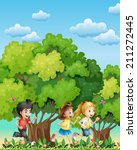 illustration of the three kids... | Shutterstock . vector #211272445