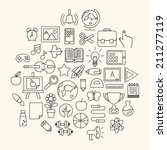 school educations thin icons... | Shutterstock .eps vector #211277119