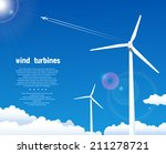 wind turbines over blue sky | Shutterstock .eps vector #211278721