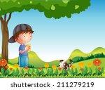 illustration of a boy under... | Shutterstock . vector #211279219