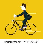businessman riding a vintage... | Shutterstock .eps vector #211279651