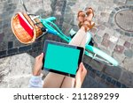 holding tablet in the hands...   Shutterstock . vector #211289299