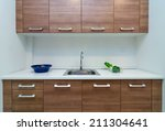 Stock photo interior kitchen with cabinet 211304641