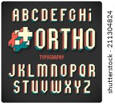 orthogonal projection font.... | Shutterstock .eps vector #211304824