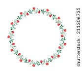 watercolor floral wreath round... | Shutterstock .eps vector #211306735