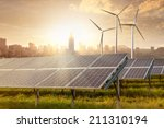 solar panels and wind... | Shutterstock . vector #211310194