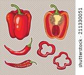 vector set with vegetables ... | Shutterstock .eps vector #211330051