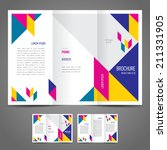 brochure design template abstract figure colored