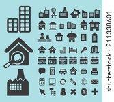 real estate  houses black icons ... | Shutterstock .eps vector #211338601
