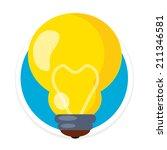 vector bulb flat round icon
