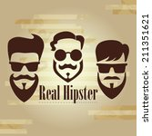 three hipster with glasses ... | Shutterstock .eps vector #211351621