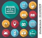 flat long shadow hotel icon set