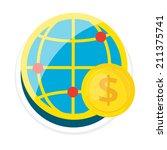 vector globe flat round icon   Shutterstock .eps vector #211375741