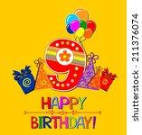 happy birthday card.... | Shutterstock . vector #211376074