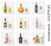 flat icons set of popular... | Shutterstock .eps vector #211379161