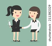 business partners handshaking... | Shutterstock .eps vector #211382329