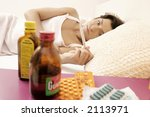 young woman  girl lying in bed... | Shutterstock . vector #2113971