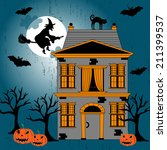 cute halloween invitation or... | Shutterstock .eps vector #211399537