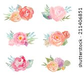 watercolor floral bunches.... | Shutterstock . vector #211406851