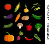 modern vegetable vector icon set | Shutterstock . vector #211410241