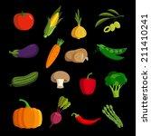 modern vegetable vector icon set | Shutterstock . vector #211410241