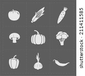 white vegetable icon set on...   Shutterstock .eps vector #211411585