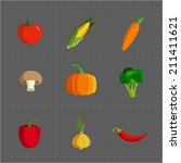 colorful vegetable icon set on... | Shutterstock .eps vector #211411621