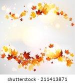 autumn swirl of maple leaves... | Shutterstock . vector #211413871