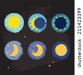 sun moon vector crayon style... | Shutterstock .eps vector #211423399