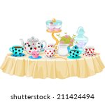 Stock vector wonderland tea party decorated table 211424494