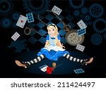 Stock vector confused alice after she has grown in size and do not know what to do on flying elements background 211424497