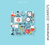 medical flat vector background... | Shutterstock .eps vector #211435171