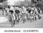 Small photo of BOWIE, MARYLAND - AUGUST 17: Cyclists compete in the elite men's race in the Dawg Days of Summer Circuit Race on August 17, 2014 in Bowie, Maryland