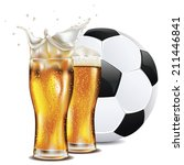 glass of beer and soccer ... | Shutterstock .eps vector #211446841