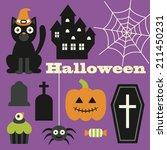 halloween objects set. vector...   Shutterstock .eps vector #211450231