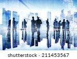 Stock photo silhouettes of business people s busy day 211453567