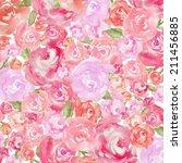 pink watercolor peony... | Shutterstock . vector #211456885