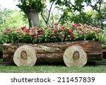 Flowers In Pots In Wooden Box...