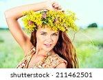 romantic girl in a wreath of... | Shutterstock . vector #211462501