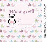 baby girl arrival card. baby... | Shutterstock .eps vector #211474669
