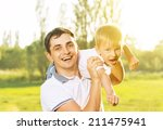 happy family in summer nature.... | Shutterstock . vector #211475941