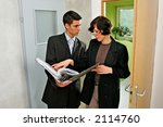 real estate agent showing a... | Shutterstock . vector #2114760