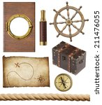 Nautical Objects Set Isolated ...